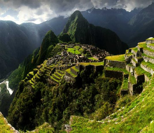 A view of Machu Picchu and the surrounding mountains along the Inca Trail in Peru