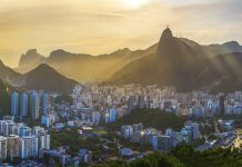 A view of the city of Rio de Janeiro, Brazil at sunrise. aTRAVELthing.com