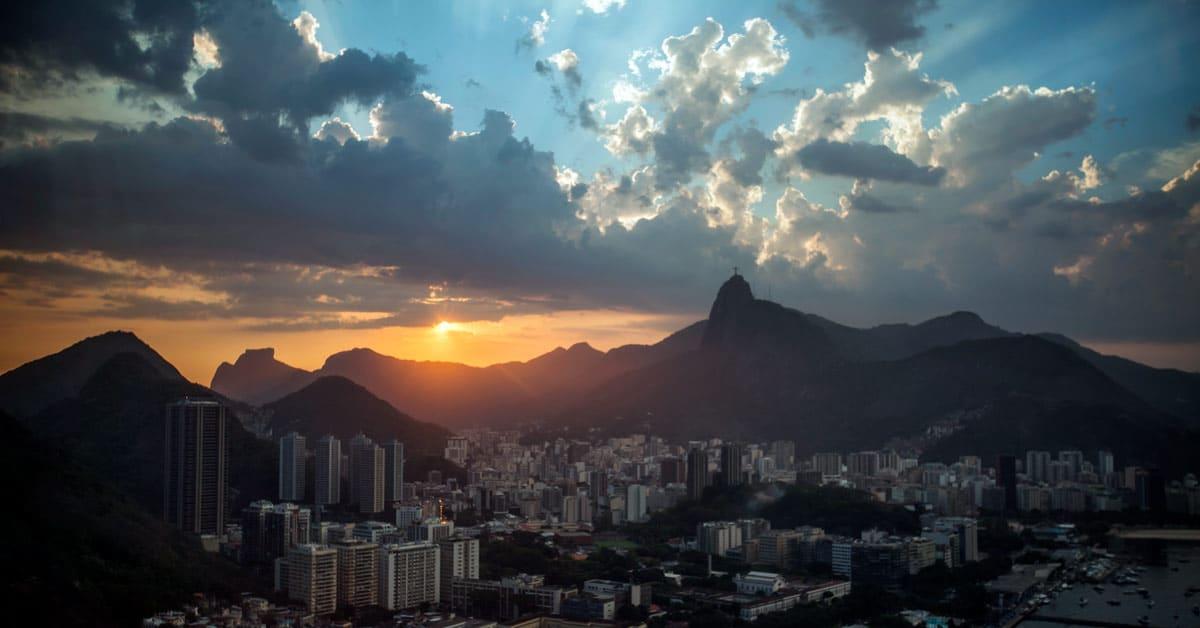 A view of Rio de Janeiro Brazil skyline at sunset. aTRAVELthing.com