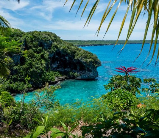 A beautiful tropical view overlooking the ocean in New Caledonia