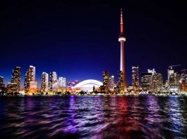 """Toronto Skyline at night photo appearing in the travel article """"48 hours in Toronto"""" which is published on aTRAVELthing.com"""