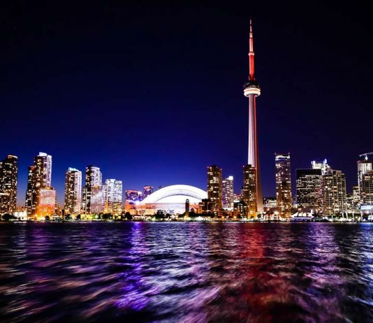 "Toronto Skyline at night photo appearing in the travel article ""48 hours in Toronto"" which is published on aTRAVELthing.com"