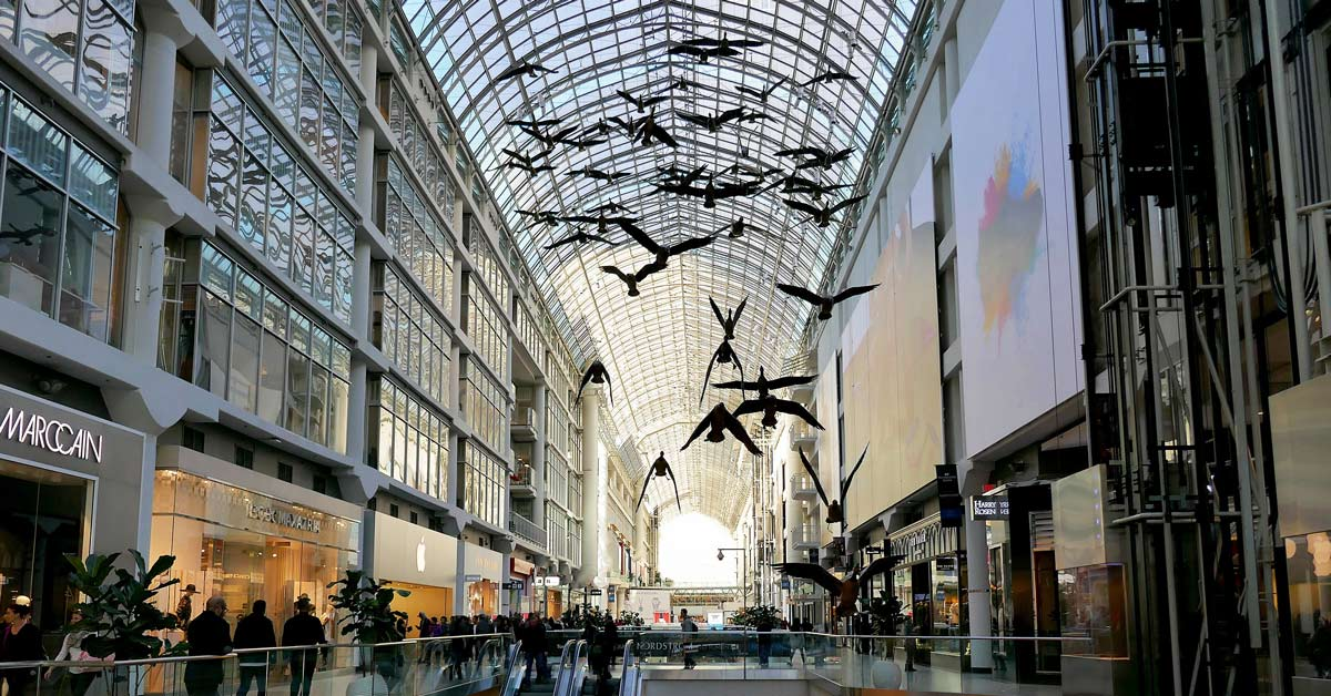 Geese art display in Eaton Centre in Toronto Canada. aTRAVELthing.com