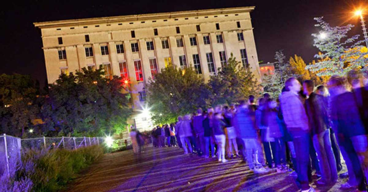 A long line outside the Berghain Club in Berlin Germany