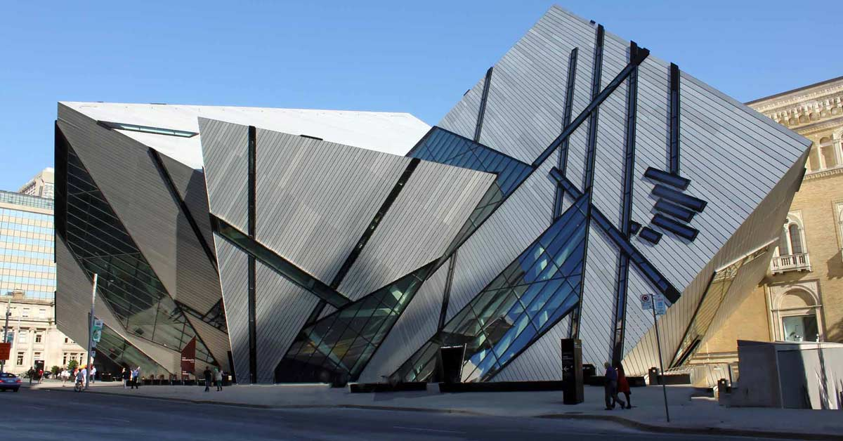 Outside of the ultra-modern design of the Royal Museum of Ontario in Toronto Canada. aTRAVELthing.com