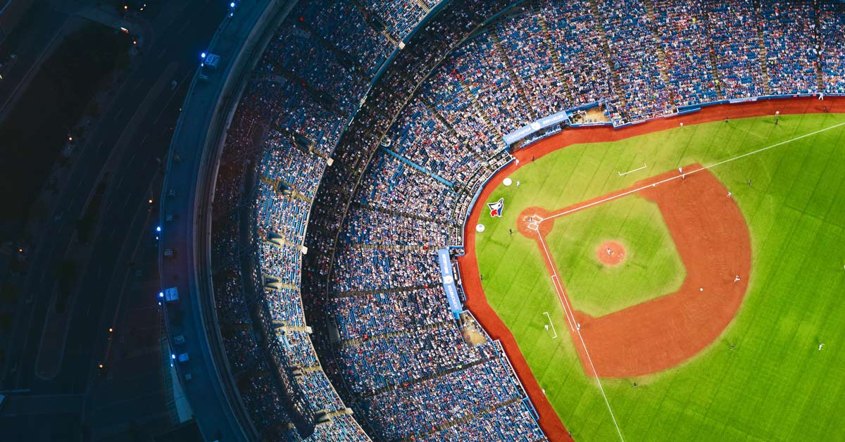 A view of Rogers Centre from the air while the Toronto Blue Jays are playing baseball. www.aTRAVELthing.com