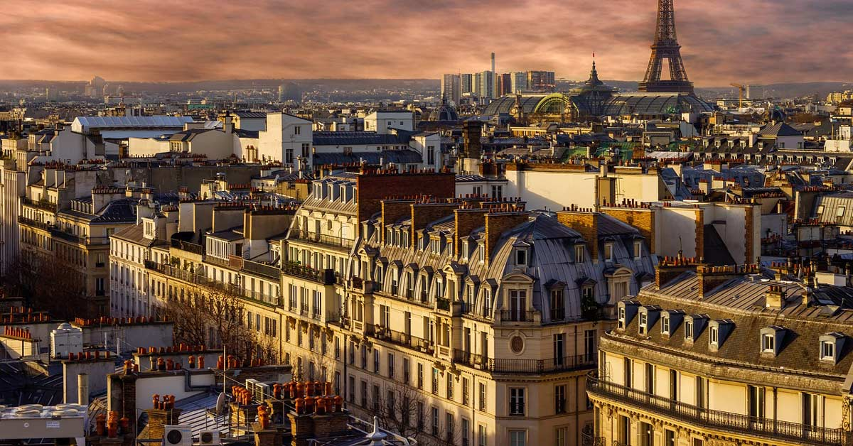 a view of a residential building and architecture at sunset in Paris France. www.aTRAVELthing.com