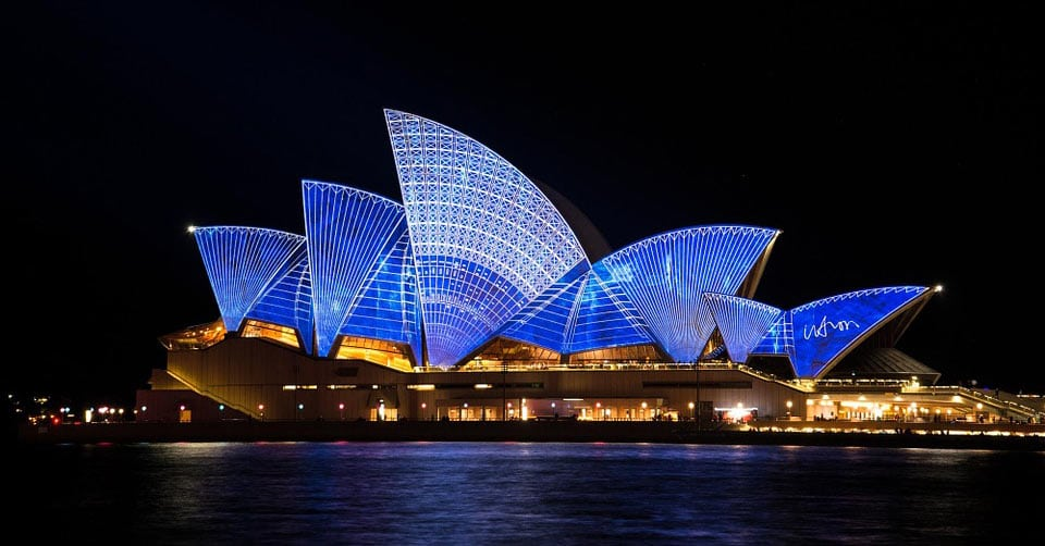 A view of the Sydney Opera House at night. www.aTRAVELthing.com