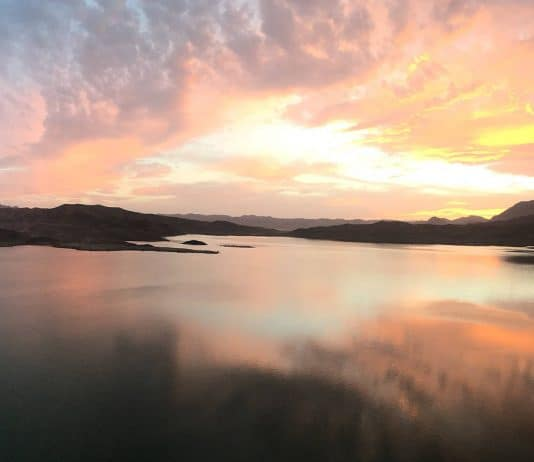 Beautiful sunset reflecting in resevoir in Iran