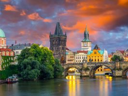 Riverfront view of the city of Prague in the Czech Republic