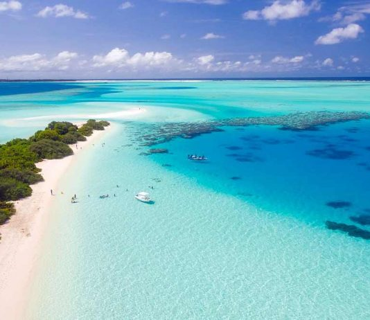 A view of the clear waters that surround the paradise island of the Maldives