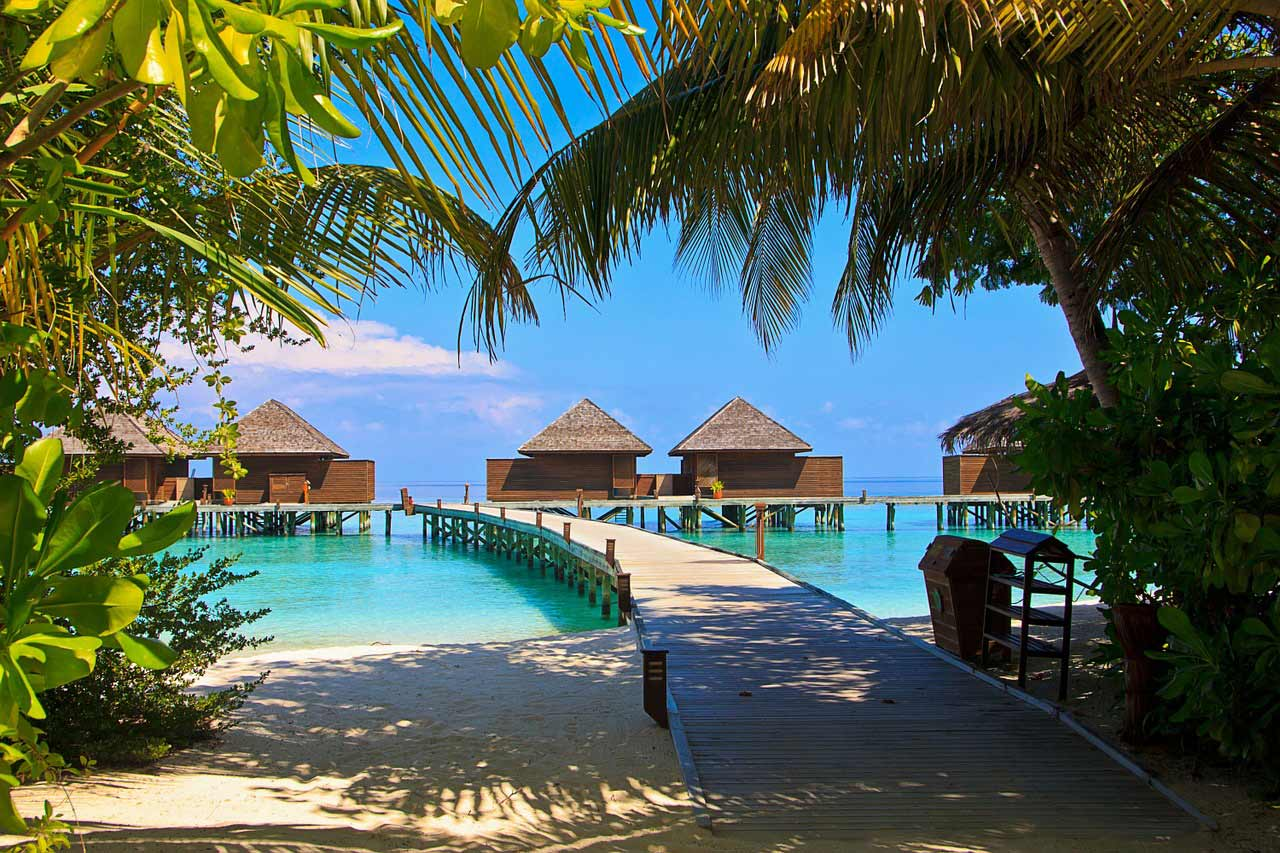 Over-water vacation bungalows in the Maldives