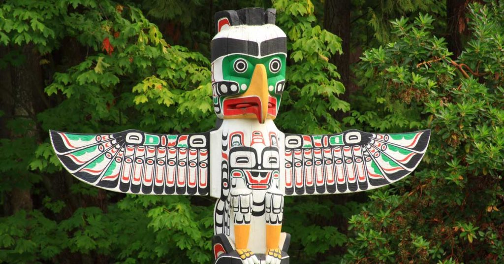 View of a native totem pole in Canada