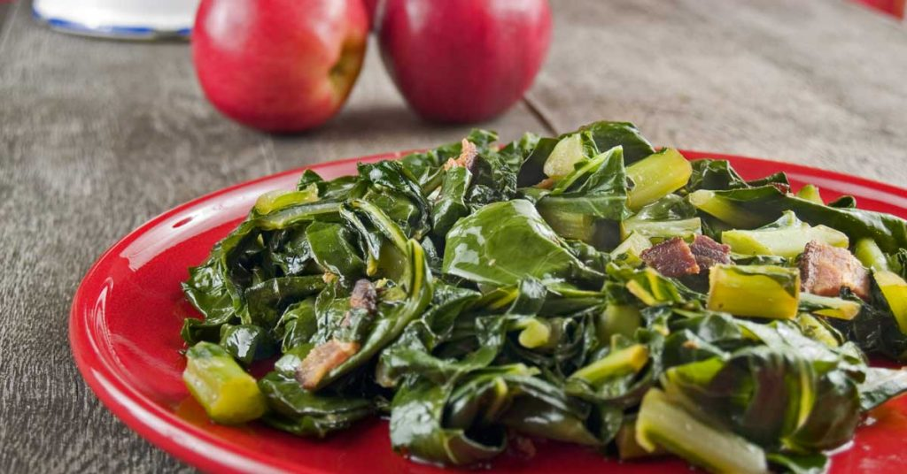 Image of southern collard greens with bacon. Maggie Valley NC.