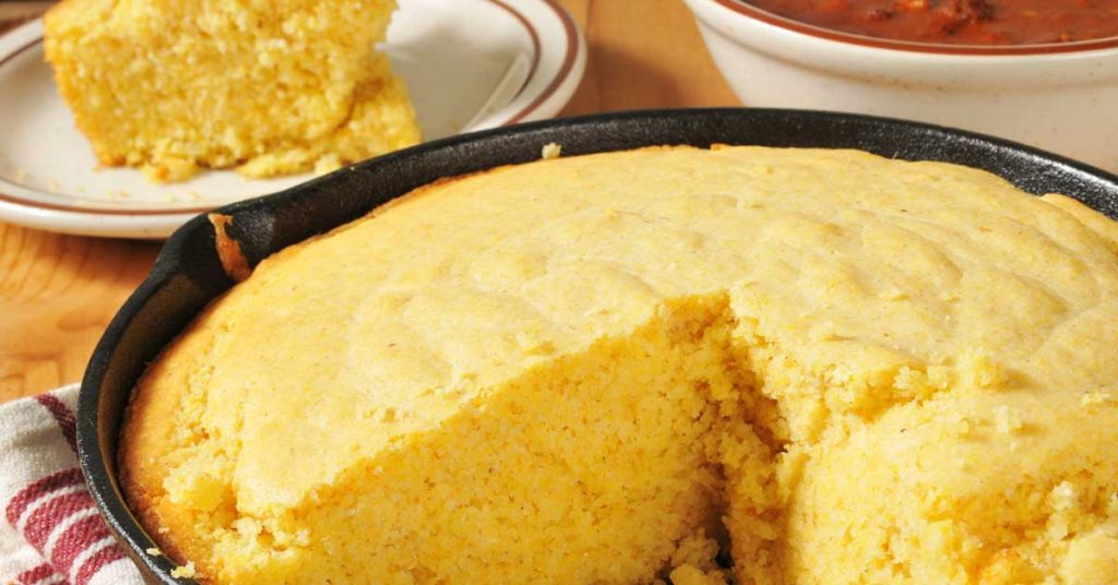 Image of cornbread that has been baked in a skillet. Maggie Valley NC