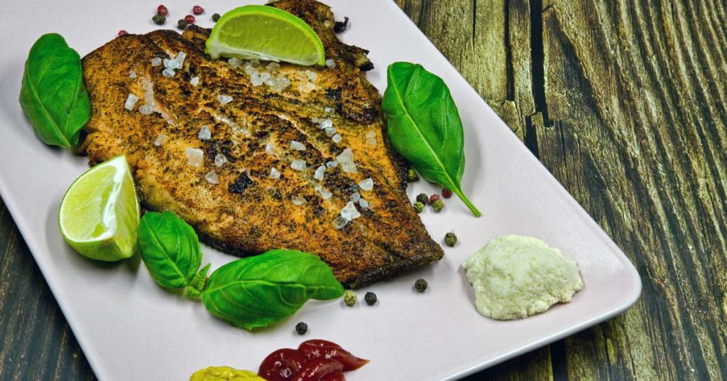 Image of fried rainbow trout that can be found in Maggie Valley NC