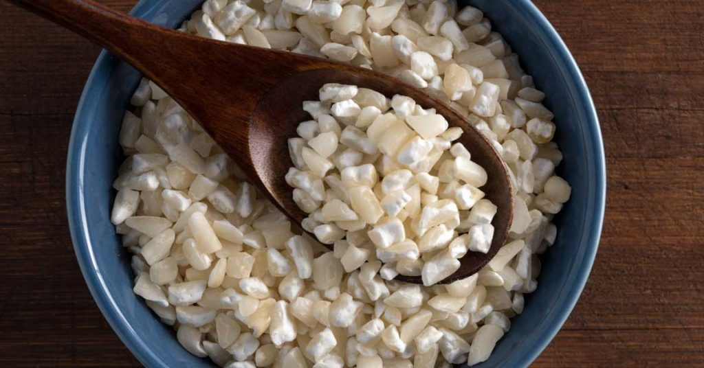 Image of uncooked hominy in a bowl. Maggie Valley NC