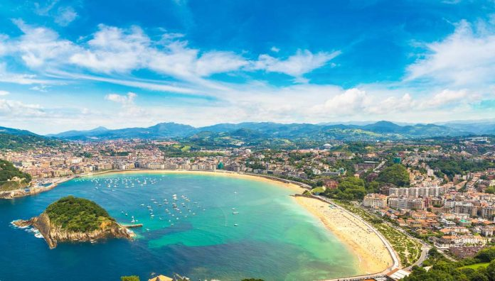 Aerial view of La Concha Beach in San Sebastian Spain. One of the best beaches to visit in Europe.