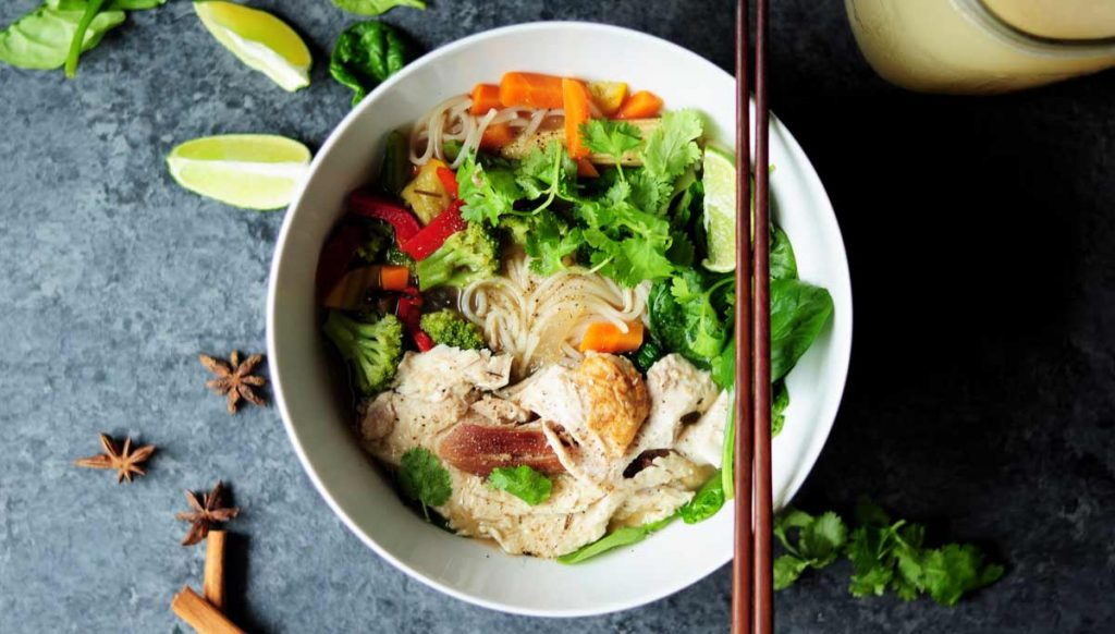 A bowl of Vietnamese food.