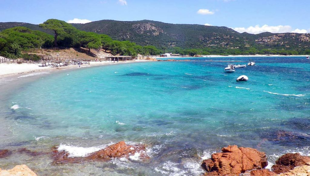 A view of Palombaggia Beach in Corsica, France. One of the best beaches to visit in Europe.