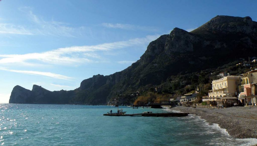 A view of the beach at Marina Del Cantone on the Amalfi Coast of Italy. One of the best beaches to visit in Europe.