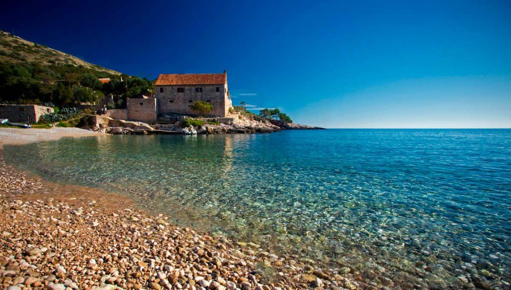 A view of Dubovica beach on Hvar Island in Croatia. One of the best beaches to visit in Europe.