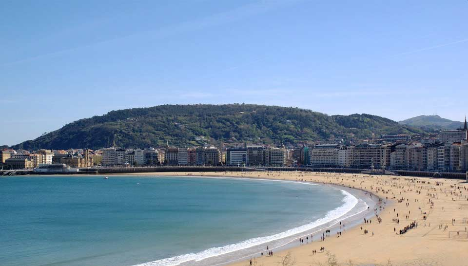 A view of the La Concha beach in San Sebastian, Spain.
