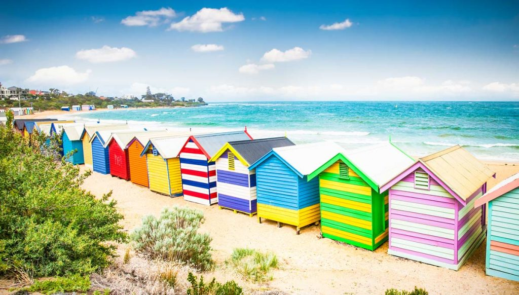 The colorful beach houses on Brighton Beach in Australia