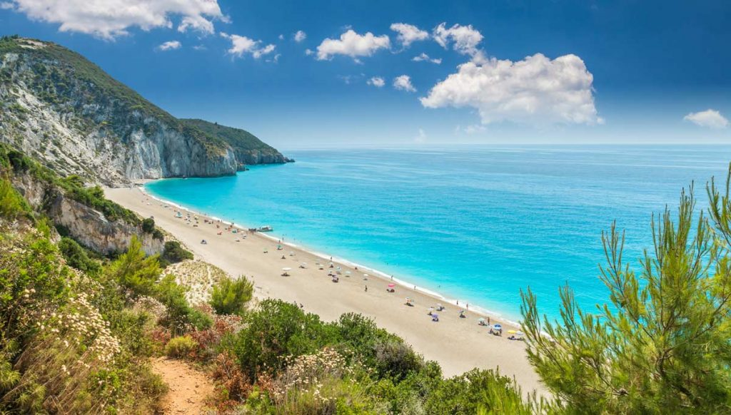 Milos beach on Lefkada island, Greece. Milos beach near the Agios Nikitas village on Lefkada, Greece