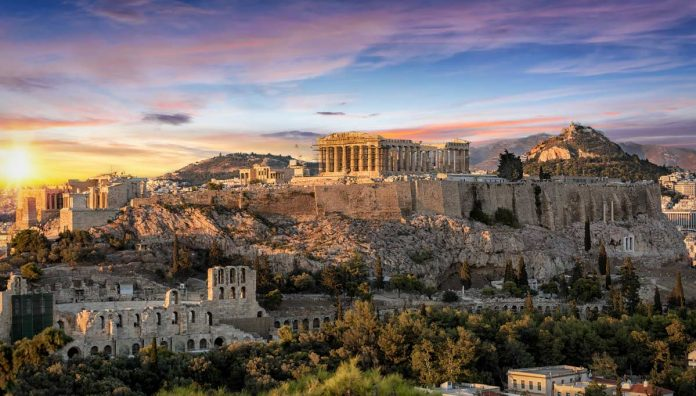 A view of the Parthenon in Athens Greece