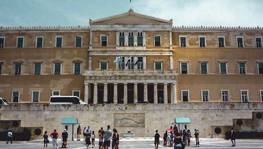 A view of Syntagma Square in Athens Greece