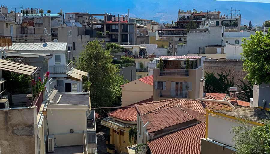 A view of the Psirri neighborhood in Athens Greece.