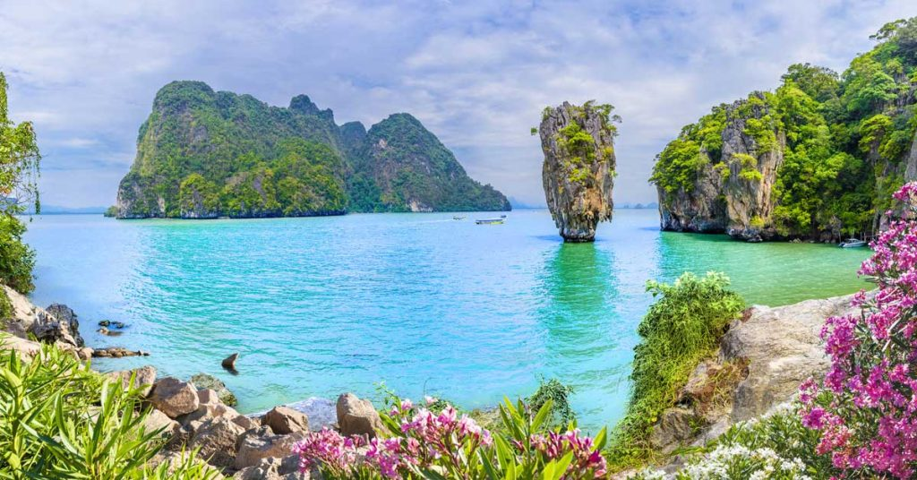 The beautiful beach on Phuket Island in Thailand