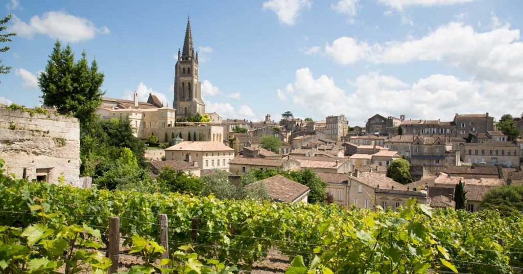 Landscape view of Saint Emilion village in Bordeaux region in France.