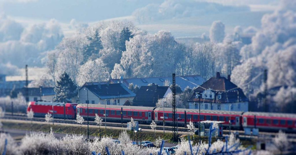 Travel by train on a winter holiday in Europe